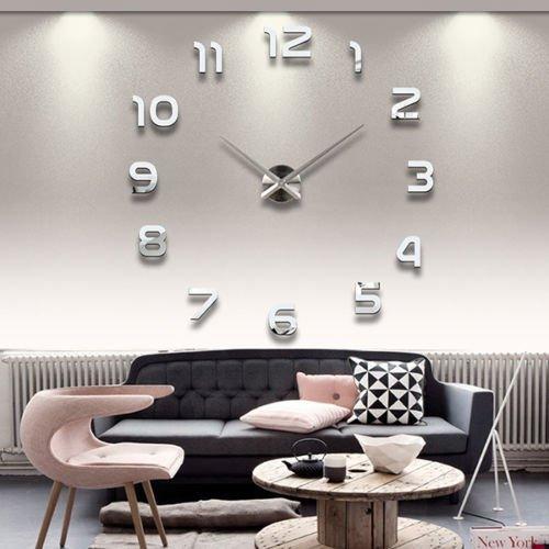 3D Wanduhr Sticker Modern, 3D DIY Uhr Sticker, Moon mood® 3D DIY Metall Riesen Uhr Moderne Wanduhr Wandtattoo Dekoration Uhr Wand Sticker Spiegel Oberflächen Zimmerdeko Sticker Wohnzimmer Büro Studierzimmer