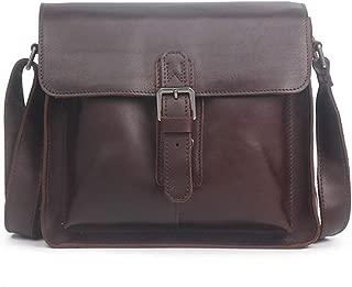 Mens Bag Brown Red Retro Casual Men's Briefcase Zippered Leather Crossbody Shoulder Bag High capacity