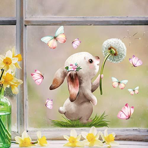 Wandtattoo Loft Fensterbild Frühling Ostern wiederverwendbar Fensteraufkleber Kinderzimmer Hase mit Pusteblume Schmetterlinge Babyzimmer/Hase Pusteblume (1139) / 1. DIN A4 Bogen