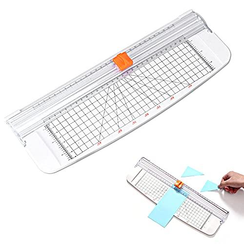 GmeDhc cortador de papel a4, Guillotina de Papel con protección de seguridad automática y dispositivo de corte de regla lateral para papel, fotos, proyectos de manualidades, etiquetas, (blanco)