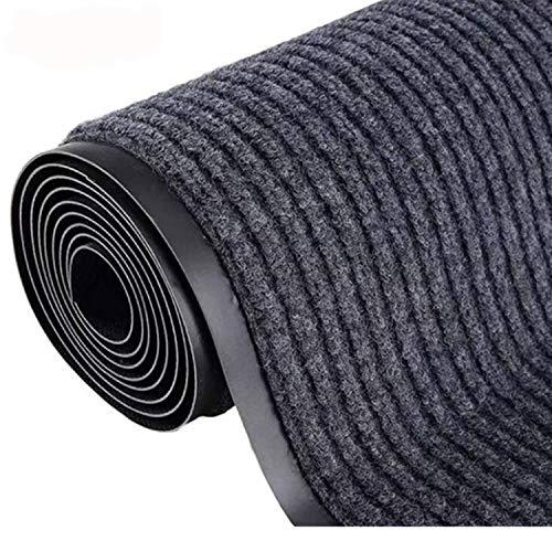 Lehom Commercial Floor Mat Double Stripes Carpet PVC Non-Slip Hotel Staircase Office Corridor Carpet Grey Mat Runner Rug 3X10FT