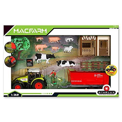 Starlux - Caja Completa con Tractor CLAAS, Animales, Cuerpo de Granja y Accesorios, 802021, Color Verde y Rojo