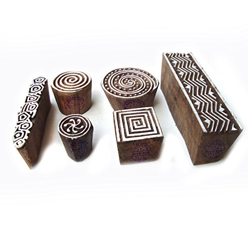 Exclusive Spiral and Geometric Designs Wooden Printing Stamps (Set of 6)