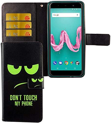 König Design Handyhülle Kompatibel mit Wiko Lenny 5 Handytasche Schutzhülle Tasche Flip Hülle mit Kreditkartenfächern - Don't Touch My Phone Grün Schwarz
