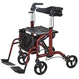 HOMCOM 2 in 1 Aluminum Rollator Walker Convertible Rollator Wheelchair with Adjustable Arms