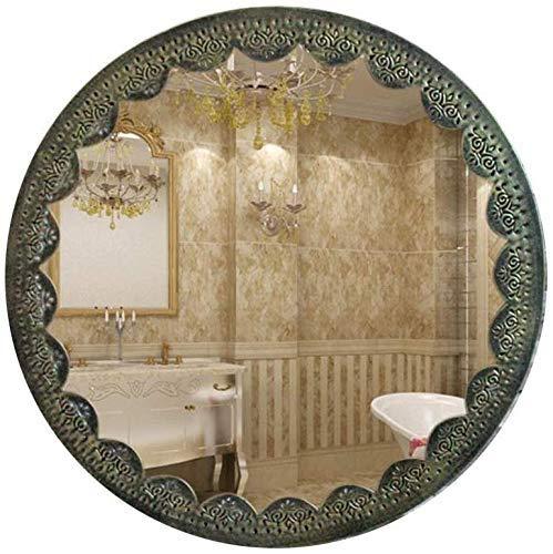 BXU-BG La Pared del hogar pequeños Espejo Redondo sólido Marco de Madera Mobiliario de Dormitorio de Pared Espejo Redondo de Maquillaje Espejo del baño Dormitorio Dresser