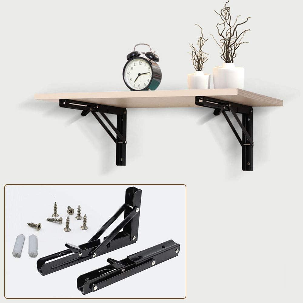 WWJQ Noir /Équerre Pliante 2Pcs Equerres pour Etagere Murale Pliable pour /établi DIY Charge 80kg 30cm//35cm//40cm
