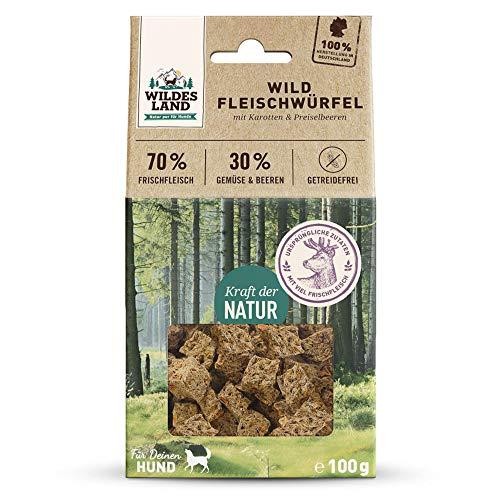 Wildes Land | Fleischwürfel Wild | 400 g | Kausnack für Hunde | 70% Frischfleisch | 30% Gemüse & Beeren | Natürlich belohnen | getreidefrei | Hohe Akzeptanz | Frisches, schonend getrocknetes Fleisch