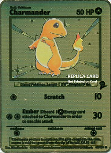 Charmander Base Set 2' Gold Metal Custom Pokémon Card - TCG CCG (Replica)