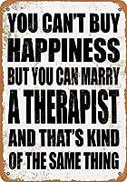 金属ティンサイン-あなたは幸せを購入することはできませんが、セラピストと結婚することはできます-装飾的なヴィンテージの壁