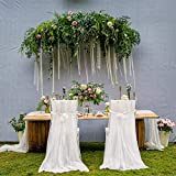 Iwinna by 2pcs Wedding Chair Covers, Romantic Mesh Yarn Vertical Drops DIY Chair Cover for Wedding Party Birthday Celebration Decoration