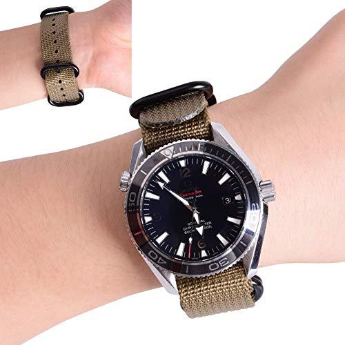 Ritche Bracelet de montre OTAN 18 mm 20 mm 22 mm 24 mm avec boucle lourde noire, Homme, kaki, 24mm