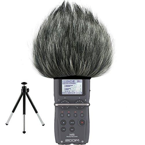FIRST2SAVVV TM-H5-D01G6 Microfono Parabrezza Copertura Antivento Shell Cuffia Antivento in Pelliccia Sintetica per Microfoni a Fucile per Zoom H5 + Mini treppiede