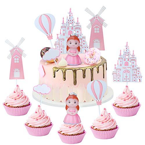 GUBOOM Tortendeko Deko, Happy Birthday Tortendeko, Tortendeko Geburtstag Mädchen Junge, Hochzeit Tortendeko Kindergeburtstag Cake Topper, Tortendeko Prinzessin Prinz Castle Windmühle