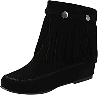 Fringe Ankle Boot for Women,Fashion Suede Round Toe Low Heel Booties Tassel Woven Cowboy Western Boots