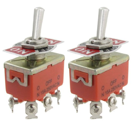 SODIAL (R) 2 Pz AC 250V 15A Amp ON / OFF / ON 3 Posizione DPDT interruttore a levetta