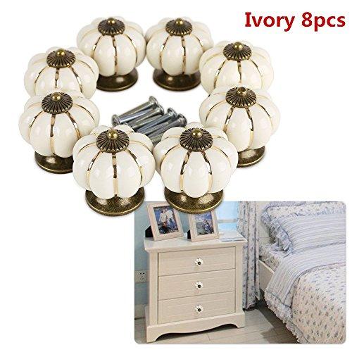 8 pomos redondos de cerámica estilo calabaza vintage con tornillo para puerta de armario, cajón, armario, armario, armario, armario, 8 unidades blanco crema
