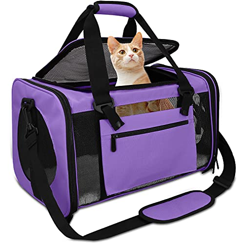Qlfyuu Dog Carriers for Small Dogs,Cat Carriers for Medium Cats Small Cats,Pet Carrier Airline Approved,Collapsible Cat Travel Carrier of 15 Lbs,TSA Approved Pet Carrier for Cats Dogs Puppy ,Purple
