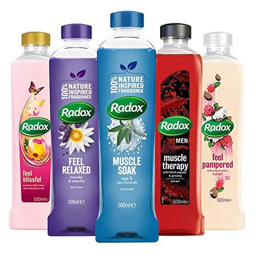 Radox Mixed Pack Bath Soak - Pack of 10 x 500ml Bottles (3 x Muscle Soak, 1...