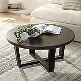 Conrad 40' Wide Dark Brown Wood Round Coffee Table - Elm Lane