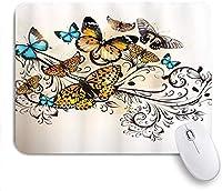 マウスパッド 個性的 おしゃれ 柔軟 かわいい ゴム製裏面 ゲーミングマウスパッド PC ノートパソコン オフィス用 デスクマット 滑り止め 耐久性が良い おもしろいパターン (蝶モナーク蝶ヴィンテージダマスク風のデザイン)