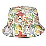 huatongxin Mexico Taco Bamboo Guinea Pig Pepper Sun Unisex Print Bucket Hat Sombreros de Pescador Sombrero de Pesca Summer Reversible Packable Cap Mujeres Hombres Outdoor Sun Hat Travel Beach Camp
