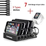 USB Charging Station for iPhone,COSOOS Charger Station with 5 Short lPhone Charger Cables,1 Type-C,1 Micro Cable,lWatch Stand,6-Port Charging Station for Multiple Devices,Tablet,Kindle(UL Certified)