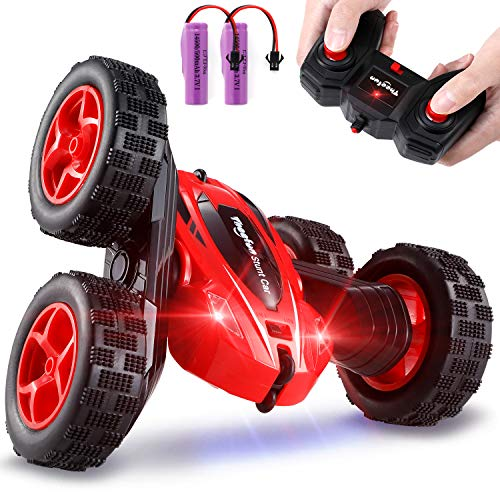 Remote Control Car, Theefun RC Stunt Cars Toy, 4WD 2.4Ghz Double Sided 360°Rotating Kids Toy Cars with LED Headlights, 2 Rechargeable Batteries for 40 Min Play, Great Gifts for Boys and Girls, Red