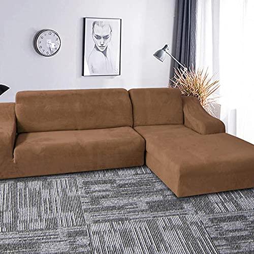 LTHDD Funda de sofá elástica de terciopelo dorado, 2 piezas, funda de sofá suave con parte inferior elástica para perros, gatos y niños en forma de L (3+3 asientos)