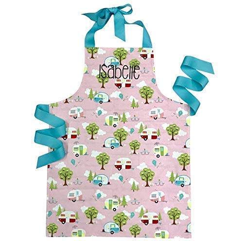 Personalized Happy Camper Handmade Baking or Art Apron Gift for Tween Girl