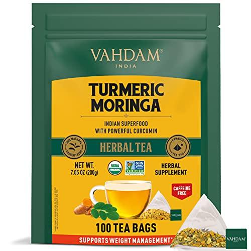 VAHDAM, Tisane Bio SUPER ALIMENTS, Curcuma + Moringa (100 Sachets)   Certifié USDA Mélange Bien-être Ancien d'Inde, Curcuma & Épices Fraîches   Tisane Detox pour Booster l'Immunité