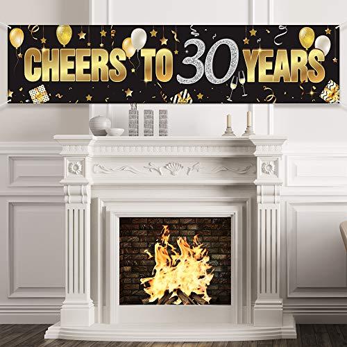 30. Geburtstag Banner, Alles Gute zum 30. Geburtstag Prost auf 30 Jahre Geburtstag Zeichen Gold Glitzer Geburtstag Banner, Jubiläum Feier Hintergrund Party Dekoration Lieferungen für 30 Geburtstag