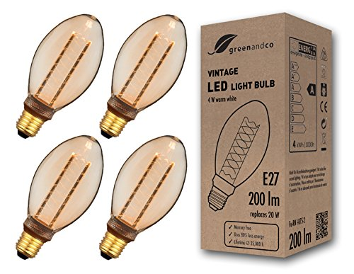 4x greenandco® Vintage Design LED Lampe im Retro Stil zur Stimmungsbeleuchtung E27 B75 Edison Glühbirne, 4W 200lm 1800K extra warmweiß 320° 230V flimmerfrei, nicht dimmbar 2 Jahre Garantie