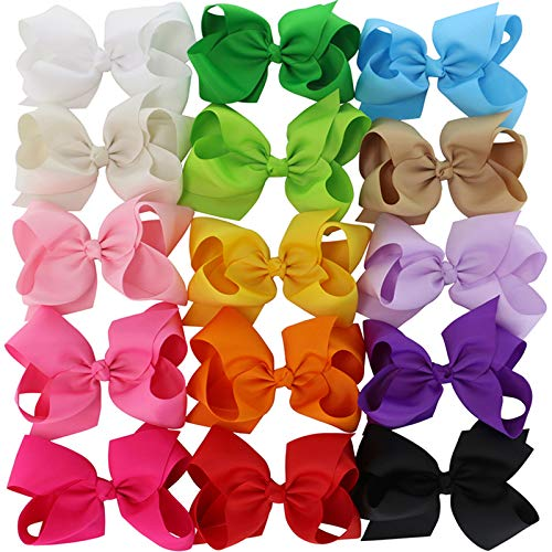 6 inch Hair Bows Large Big Grosgrain Ribbon Baby WITH Alligator Clips Boutique Bow For Girls 15 Colors