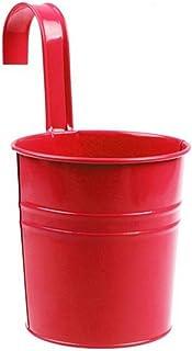 Maceta de hierro para colgar de Vi.yo, para colgar flores en balcones o paredes, Rojo, 10*10*15.5CM