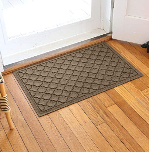Bungalow Flooring Waterhog Door Mat, 2' x 3' Made in USA, Durable and Decorative Floor Covering, Skid Resistant, Indoor/Outdoor, Water-Trapping, Cordova Collection, Khaki/Camel