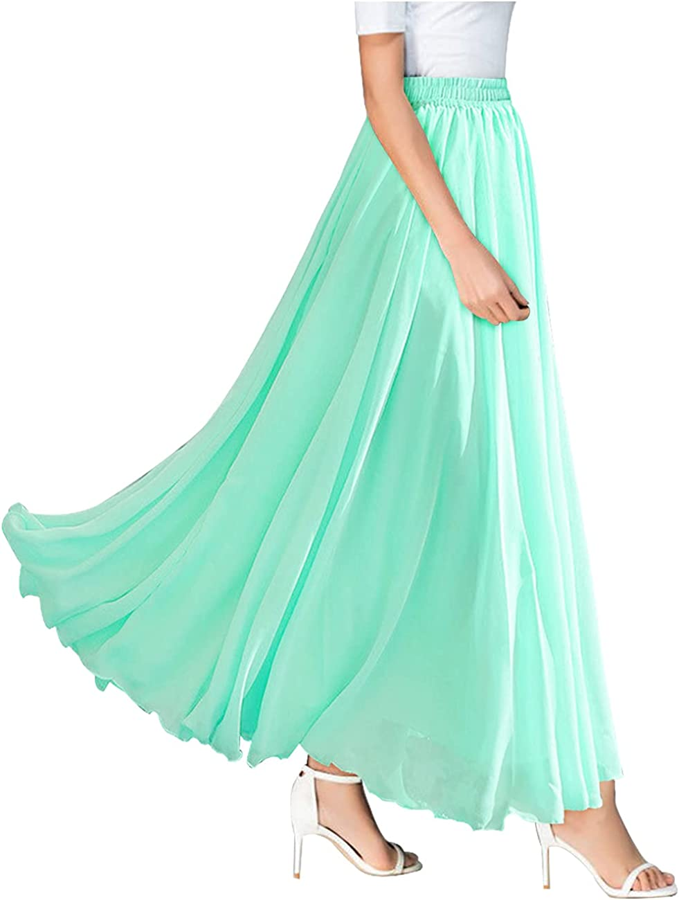 Joukavor Women's Chiffon Maxi Long Skirt Casual Flowy Pleated Skirts
