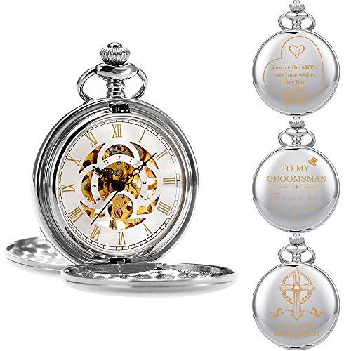 ManChDa Reloj De Bolsillo Grabado Personalizado, Reloj Mecánico, Primer Reloj De Bolsillo Para La Comunión Infantil, Regalo Para Papá, Esposo, Hijo, Regalo De Graduación, Padrino De Boda, Rega