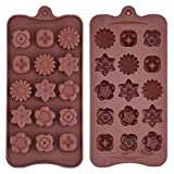 Silikon Schokoladenform Blumenförmig Backförmchen Süßigkeit Muster Jelly Ice Behälter für Handgemachte DIY, Kaffee, 2 Stück