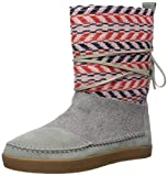 TOMS Women's Nepal Fashion Boot, Neutral Grey Suede/Textile Mix, 10 Medium US