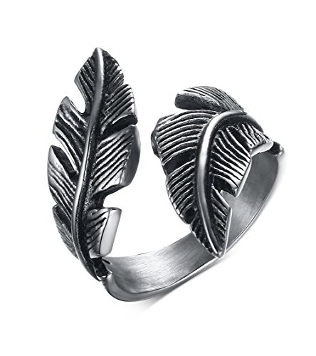 jonline24h Mens Womens Stainless Steel Ring, Vintage Feather, Black Silver(8)