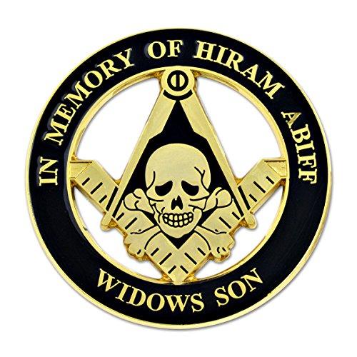 Widow's Son Skull Square & Compass Round Masonic Auto Emblem - [Black & Gold][3'' Diameter]