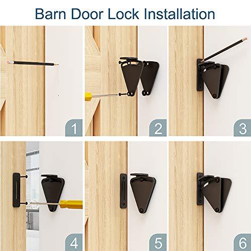 Product Image 8: WINSOON Barn Door Lock Hardware Black Steel Sliding Privacy Latch for Closet Shed Pocket Doors Wood Gates – Black