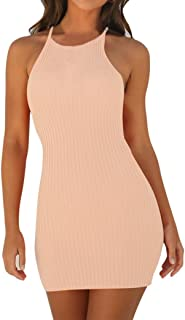 TLOOWY Mini Dress, Women Sexy Halter Neck Sleeveless Short Bodycon Dress Summer Party Club Dress Solid Color