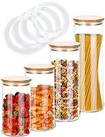 4 barattoli di vetro con coperchio - ermetico - con 4 guarnizioni extra - lavabile in lavastoviglie - vetro di borosilicato