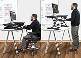 Halter ED-600 vormontierter Höhenverstellbarer Schreibtisch Sitz- / Standhöhe Desktop – Schwarz - 5