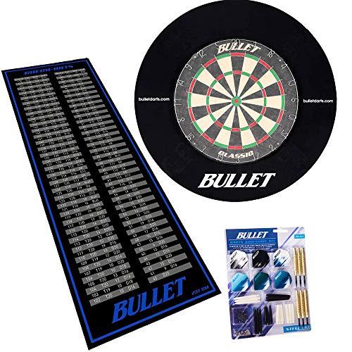 BULLET-Darts Großes Dart Turnier Set, 90 teiligem Steeldarts-Set, Surround Ring und einem professionellem Checkout Teppich - Schwarz/Blau