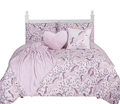 BCBG GIRLS Floral Unicorn Kids Comforter Set Full Size, 6-Piece Bedding Children's Unicorn Set, Super Soft Kids Unicorn Bed Set + 3 Magical Unicorn themed throws and 2 Pillow Shams - Soft & Reversible