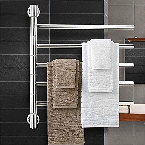 Muebles para el hogar Calentador de toallas Calentador de toallas Perchero giratorio Toallero Colgador de columpio para baño de 5 brazos Perchero para toallas Ahorro de espacio 304 Acero inoxidable