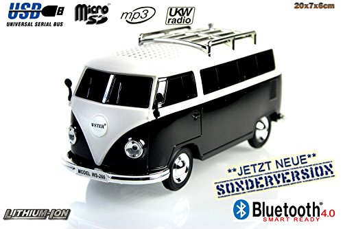 Nostalgie Bully-Box in SCHWARZ  CAR Multimedia Spaeker   Bluetooth  Radio   MP3   USB   MicroSD  SUPER Sound  Lithium-Ionen Akku 20x7x6cm